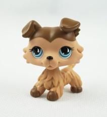 2 Inches Littlest Pet Shop LPS #893 Collie Chocolate Cream Puppy Dog Blue Tear Drop