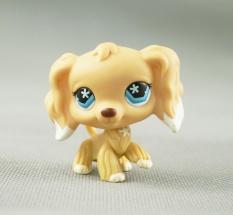 2 Inches LPS Littlest Pet Shop #748 White Dipped Tan Cocker Spaniel Dog Star Blue