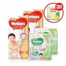 Review 2 Packs Huggies Gold Pants Pack Xl 38 2 Packs Of Huggies Baby Wipes Gentle Care 3X80S Huggies