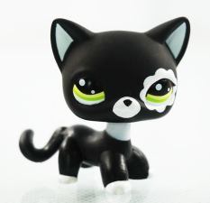2'' Rare Black Cat Green Eyes Flower Patch Kids Toys Animals Littlest Pet Shop