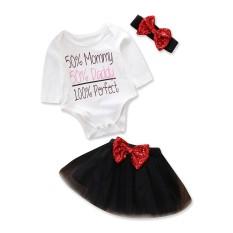 a47de51d3b299 2017 Baby Girl Clothes 3pcs Clothing Sets White Cotton Rompers Jumpsuits  Bowknot Black Skirt Headband Newborn Clothes Size 0-24M - intl