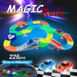 For Sale 225Pcs Twisted Tracks Flexible Assembly Neon Glow In Darkness With Automatic Rotation Track Race Car For Kids Intl