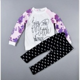 2Pcs Baby Girls Purple Flower Long Sleeve Letters Tops Bowknot Tights Casual Clothing Sets Outfits For 2 8Years Intl China