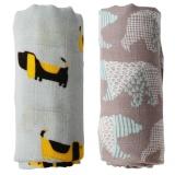 Recent 2Pcs Bamboo Muslin Cotton Baby Swaddles Newborn Gift Intl