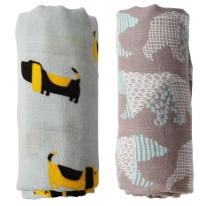 Discount 2Pcs Bamboo Muslin Cotton Baby Swaddles Newborn Gift Intl