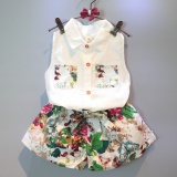 Promo 2Pieces Baby G*rl Fashion Clothing Set Sleeveless Floral Shirt With Elastic Waist Pants Intl