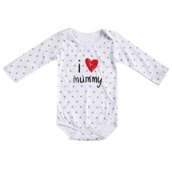 4fde59e1415 3-6M newborn Baby Letter I Love Mummy Long Sleeve Comfy Cotton Romper Body  Suits