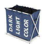 3 Section Folding Laundry Sorter Hamper Organizer Washing Clothes Basket Storage Blue Intl China