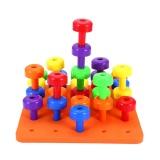 30Pcs Kids Pegboard Jigsaw Building Block Puzzle Developmental Toy Intl In Stock