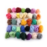 Discounted 36 Colors Wool Fiber Dyed Roving For Needle Felting Hand Spinning Set Intl