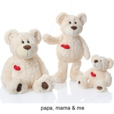 3Pcs A Group Family Teddy Bears Plush Toy Stuffed Animals White Teddy Bear With Pocket Heart Parent Child Bears Soft Toys Gifts Intl China