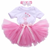 Get Cheap 3Pcs Toddler Baby G*rl Romper T Shirt Top Headband Skirt Tutu Skirt Outfit Present Headband Intl