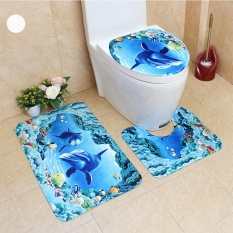 Sale 3Pcs Set Cute Creative 3D Sea Ocean Fish Shell Animals Bathroom Rug Toilet Lid Cover Mat Set Non Slip Cartoon Foot Mat Water Absorb Anti Skid Carpet Style Dolphin Fish Size 45 75Cm Intl Oem Original