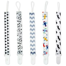 5 Packed Pacifier Clip Cute Pattern Soother Holder With Ripple Milk Mustache Plane Triangle For Babies Kids Toddles - Intl By Veecome.