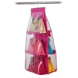 Sale 6 Large Pocket Fashion Clear Handbag Hanging Storage Organizer Closet Hanger Intl Oem Wholesaler