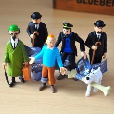 6PCS Original The Adventures of Tintin PROFESSOR Dupont Milou Captain Haddock Action Figure Cartoon anime tintin