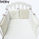Get Cheap 6Pcs Set Baby Infant Cot Crib Bumper Safety Protector Toddler Nursery Bedding Set Baby Protection Cushion Pad Baby Care Supplies Beige Intl