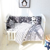 Best 7Pcs Baby Bedding Set Gray Star Pattern Bed Linen For Newborns Intl
