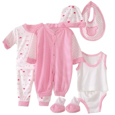 Brand New 8Pcs Soft Cotton Unisex Newborn Baby Infant Clothes Clothing Set Includes Jumpsuit T Shirt Pants Vest Briefs Bib Cap Socks Pink Stripe Style Intl