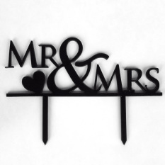 Acrylic Mr And Mrs Letters With Heart Style Wedding Engagement Cake Decoration Topper Pick Cake Decorating Supplies Black By Vococal Shop.