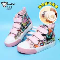 Asia Korea Monkey High Top Magic Stickers Shoes Hip Hop Cartoon Boys Shoes Girls Canvas Shoes Small Boy Baby Shoes Cheap
