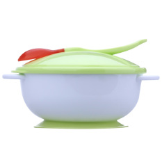 Baby Feeding Bowl With Sucker And Temperature Sensing Spoon (green) By Welcomehome.