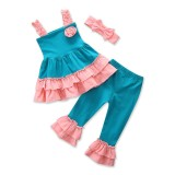 Baby Girls Daily Lovely Clothing Set Summer Cotton Condole Belt Tops Vest Pants Headband 3Pcs Kids Leisure Children Clothes Suit Intl For Sale