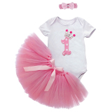 Retail Baby Girls Infant Romper Bodysuit Tulle Skirt Tutu Dress Bow Headband T Shirt Outfits Pink