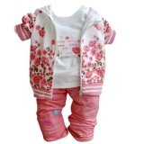 Compare Baby Girls Peony Coat Long Sleeve T Shirt Pants Clothes Set Pink