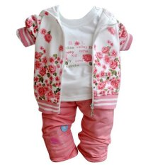 Buy Baby Girls Peony Coat Long Sleeve T Shirt Pants Clothes Set Pink Online
