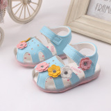 Buy Baby Girls Sandals Toddler First Walker Shoes Soft Soled Heelpiece Flashing Light Blue Cheap On China