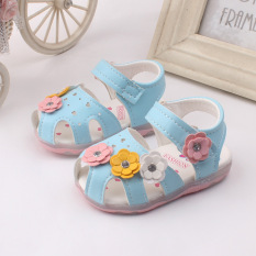 Price Baby Girls Sandals Toddler First Walker Shoes Soft Soled Heelpiece Flashing Light Blue On China