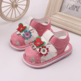 Discount Baby Girls Sandals Toddler First Walker Shoes Soft Soled Shoe Heel Sound Pink Intl Oem On China