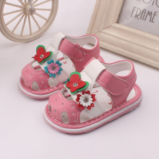 Baby Girls Sandals Toddler First Walker Shoes Soft Soled Shoe Heel Sound Pink Intl On China