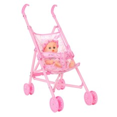 Baby Infant Doll Stroller Carriage Foldable With Doll For 12inch Doll Barbie Mini Stroller Toys Gift Pink - intl Singapore