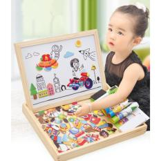 Baby Kids Education Toy Wooden Animal Magnetism Easel Doodle Drawing Board Jigsaw Blackboard Toy For Children - Intl By Lees Fashion Stroe.