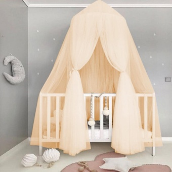 baby kids round dome bed canopy mosquito netting curtain home bedroom decorationbeige intl