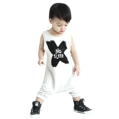 Deals For Baby Letters Printing Romper Clothes Set White