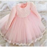 Get The Best Price For Baby Toddler Kid Flower G*rl Princess Long Sleeve Bow Lace Dress Party Pageant Pink Tag Size 80 Intl