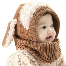 8fa6d175aecac7 Baby Toddler Winter Warm Hat Hooded Scarf Earflap Knitted Cap(Coffee) - intl