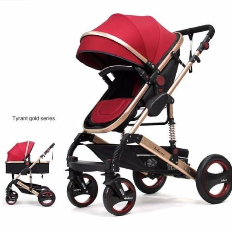 Belecoo Gold Suspension Frame German Design Stroller All Air Tyres (Red) Singapore