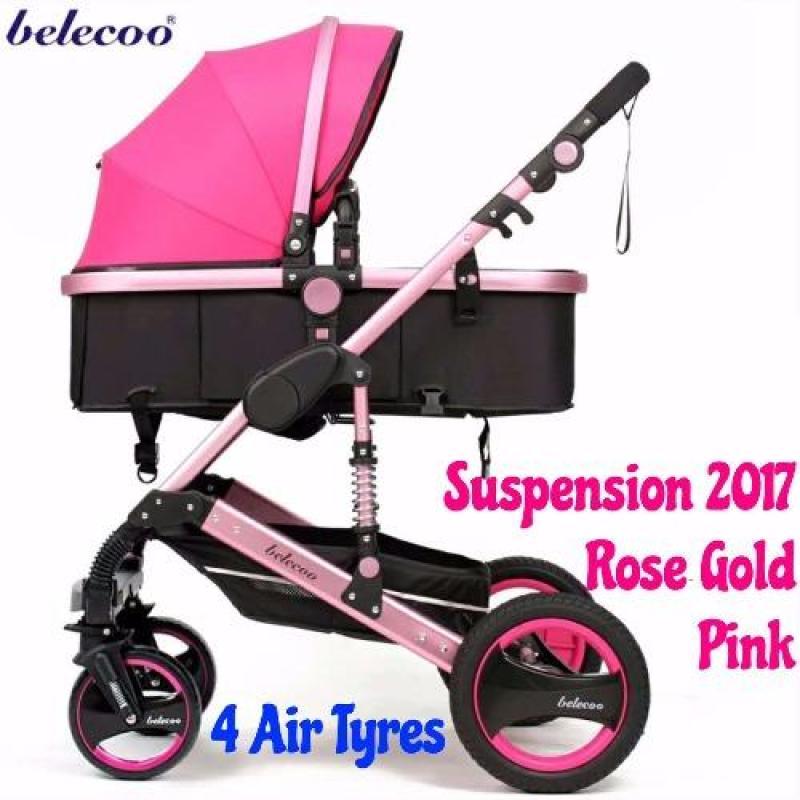 Belecoo 2017 Gold Suspension Frame German Design Stroller All Air Tyres (Rose Pink) Singapore