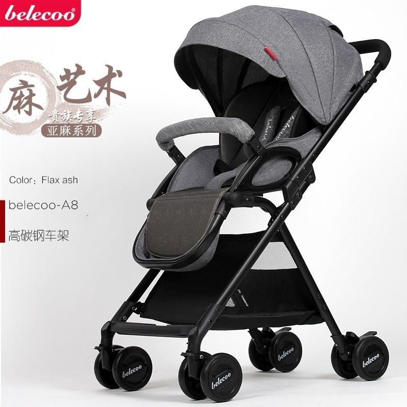 Belecoo Belico Baby Stroller Can Sit and Lie Light Folding Shock Absorber (Linen) - intl Singapore