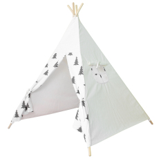 Cheapest Black Tree Printed Children Cotton Canvas Teepee With Four Poles Intl