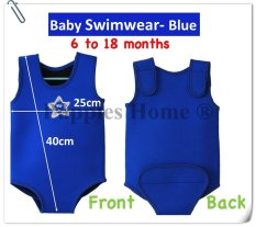 [blue] Kids Thermal Swimwear Keep Warm Swimsuit Swimming Suit Shirts Wet Suits Swim Wear Bodysuits Short Sleeve Children Life Vest Float Toddler Baby Infant By Puppies Home.