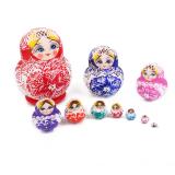 Bolehdeals 10Pcs Multi Color Painted Wooden G*rl Russian Nesting Dolls On Hong Kong Sar China