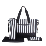 Bolehdeals 3Pcs Set Large Capacity Mummy Tote Diaper Nappy Changing Bag Black Striped Review