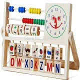 Price Children Babies Kids Versatile Flap Abacus Educational Wooden Toys Multifunctional Calculation Frame Letter Alphabet Digital Number Alarm Clock Thinch New