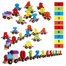 Sale Children Building Blocks Wooden Digital Train Puzzle Assembled Colorful Small Train Early Educational Toys Gift For Kid Intl Oem Original