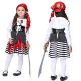 Where Can I Buy Children Polyester Pirate Girls Performance Halloween Costume L